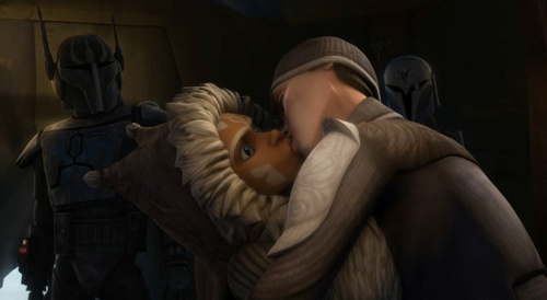 """Ahsoka and her """"betrothed"""" kiss."""
