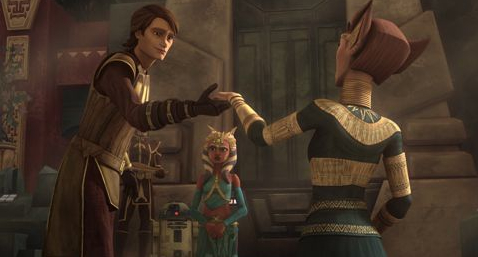 Anakin charms the queen.